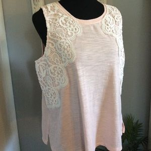 Pink and Lace Crown and Ivy Sleeveless Top PL